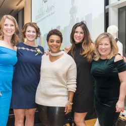 K.C. McAllister, Alison Marker, Christie Angel, Jessica King, & Barbara Benham, co-chairs of 2018 Wine Women & Shoes benefiting Community Shelter Board